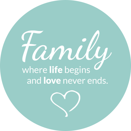 Cuoio slider met tekst Family where life begins and love never ends