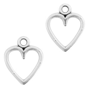 Bedel big heart open maat 14 bij 11 mm kleur zilver