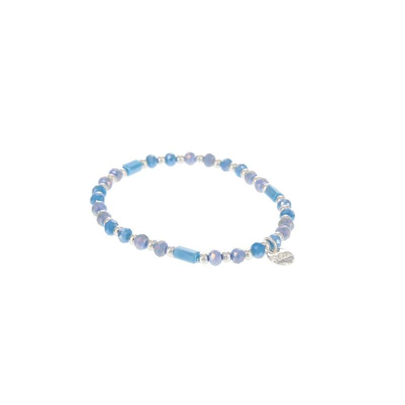 Kralenarmband kleur shiny blue