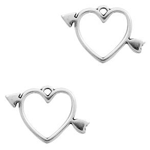 Bedel kleur zilver vorm hart met pijl