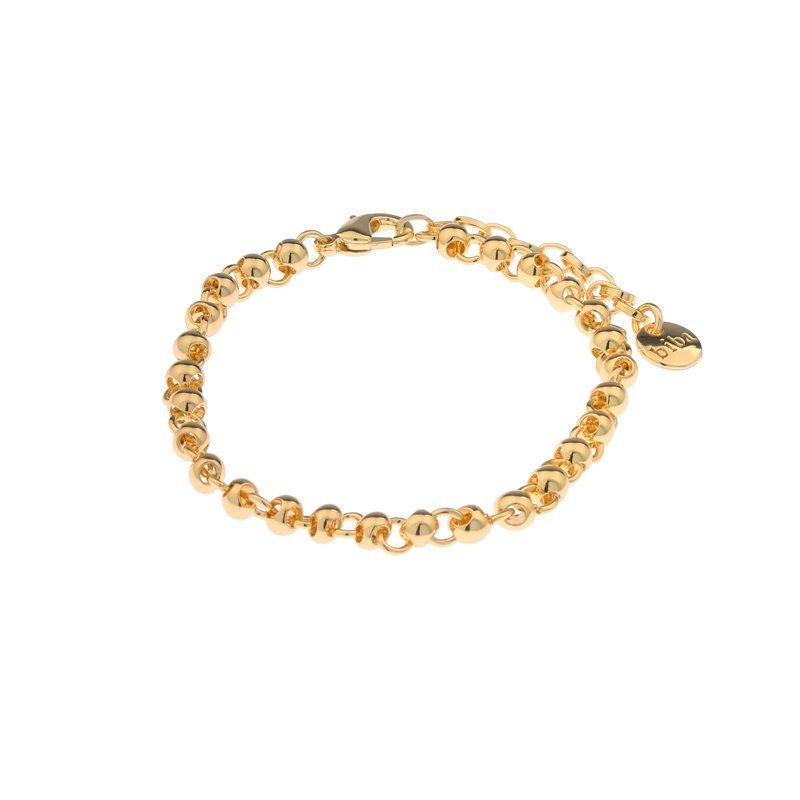 Biba armband met verlengketting vorm bal en cirkel kleur goud maat 16 tot en met 18 cm