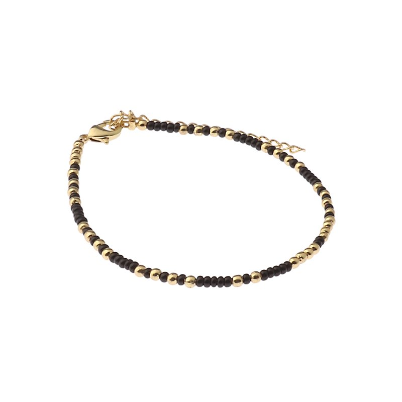 Biba bead armband kleur black gold kralen 2mm