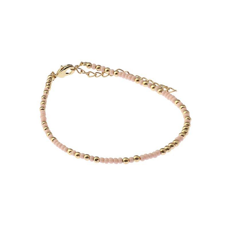 Biba bead armband kleur pinky gold kralen 2mm