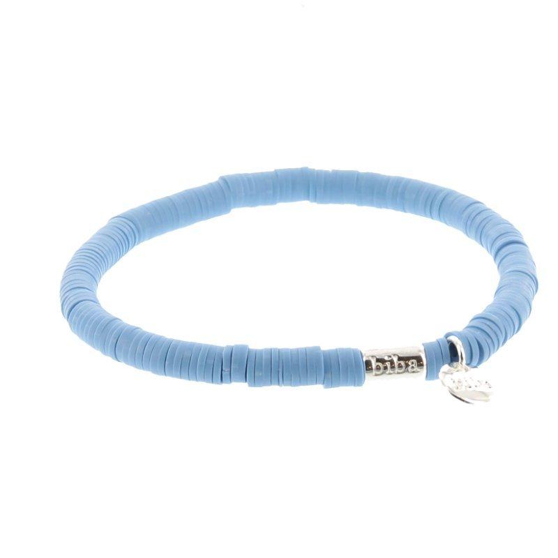 Biba clay armband kleur mid blue kralen 6mm