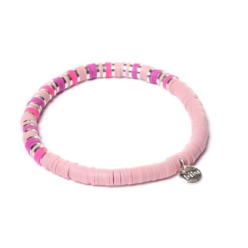 Biba clay armband kleur mix pink silver kralen 4mm