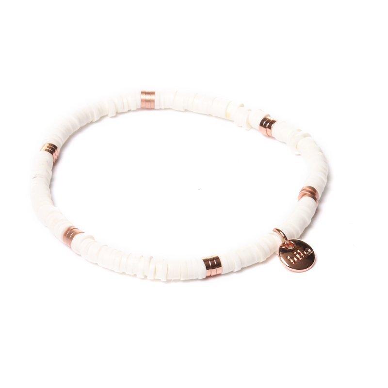 Biba clay armband kleur white rose kralen 4mm