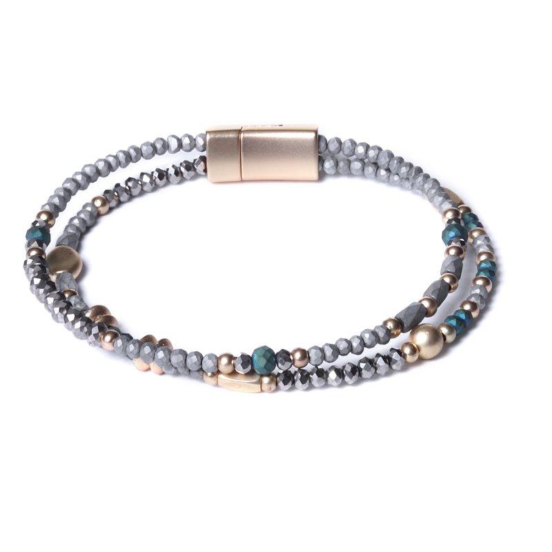 Biba armband facet en bal disckralen kleur azuur groen en grijs met goudaccenten