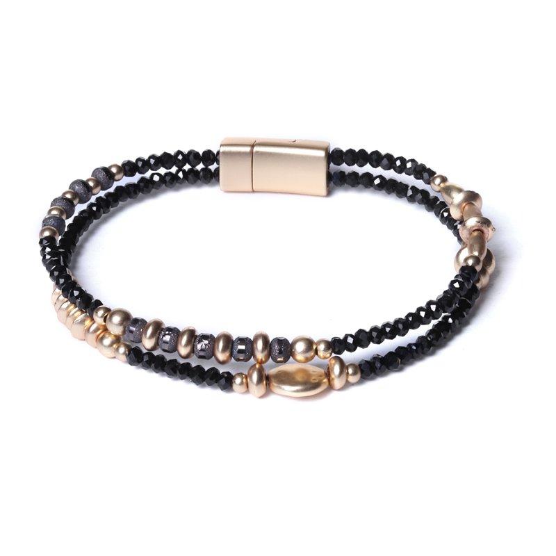 Biba armband facet en ronde en disckralen kleur zwart met goudaccenten
