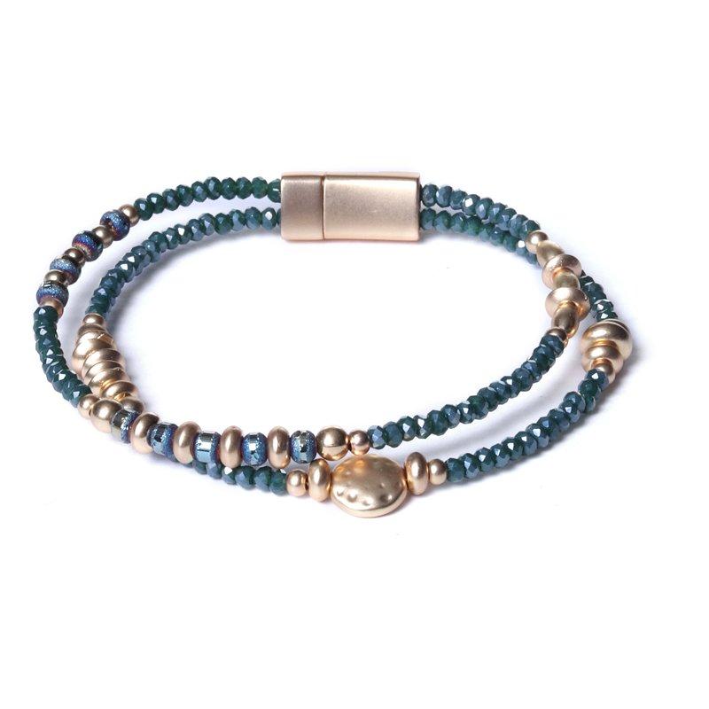 Biba armband facet en ronde en disckralen kleur diep groen met goudaccenten