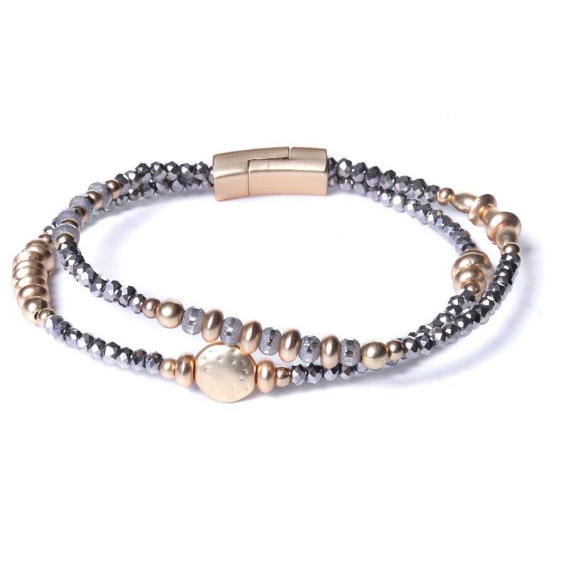 Biba armband facet en ronde en disckralen kleur donkergrijs met goudaccenten