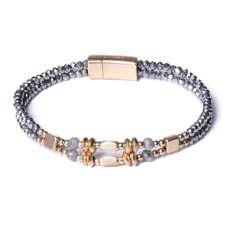 Biba armband facet en disckralen kleur donker grijs met goudaccenten