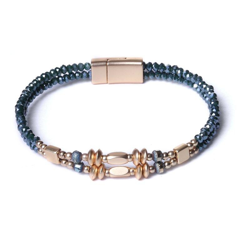 Biba armband facet en disckralen kleur diep groen met goudaccenten