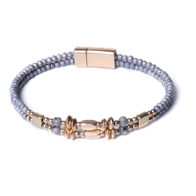 Biba armband facet en disckralen kleur lichtgrijs met goudaccenten