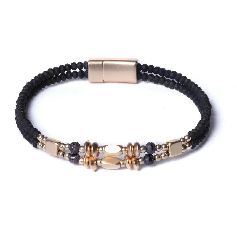 Biba armband facet en disckralen kleur zwart met goudaccenten