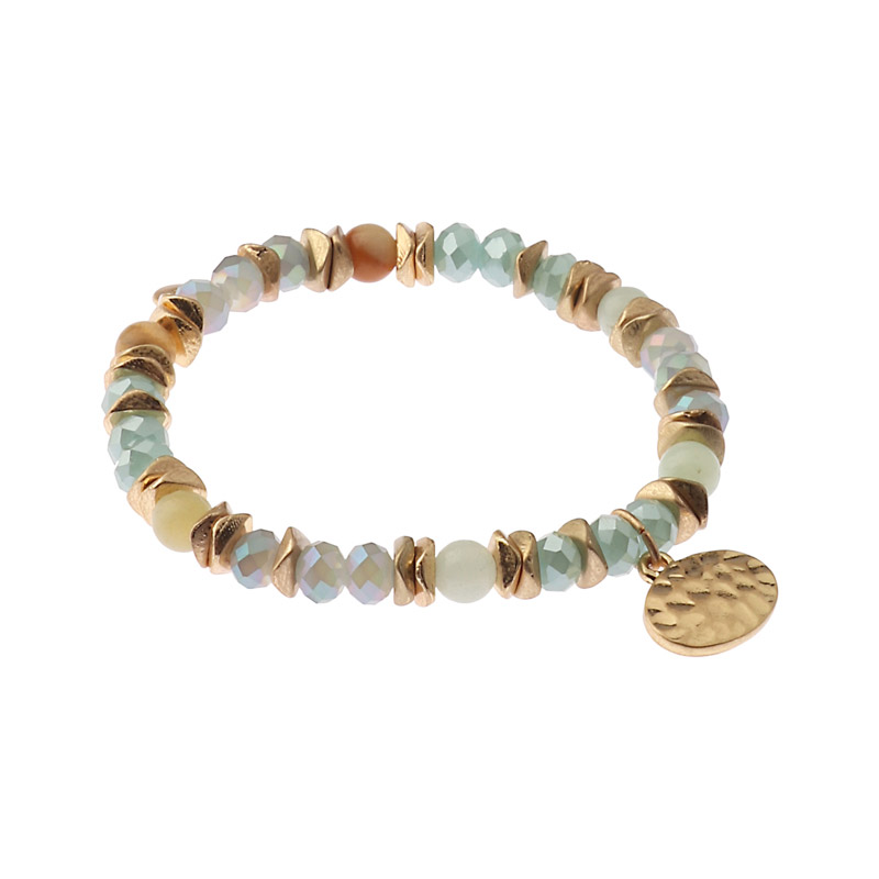 Biba bead armband kleuren blauw groen goud kralen 6mm