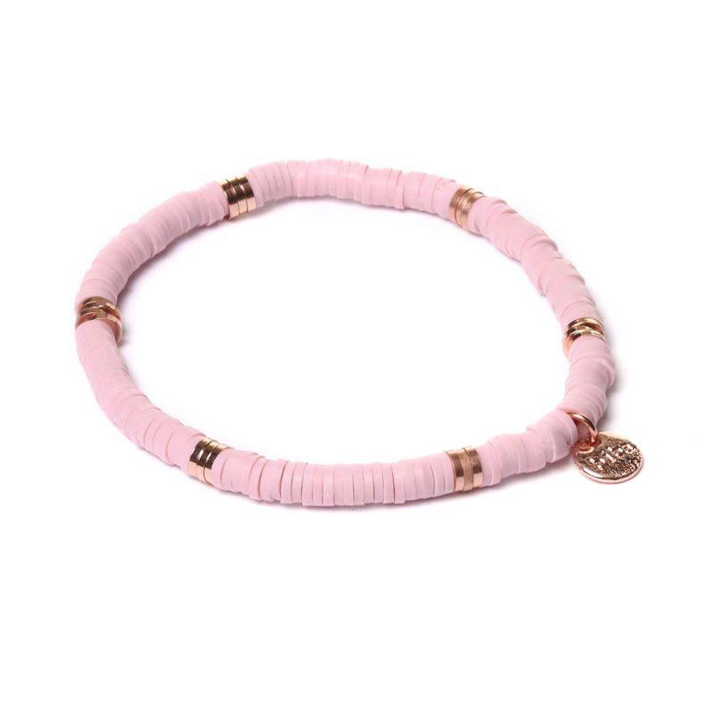 Biba clay armband kleur light pink rose kralen 4mm