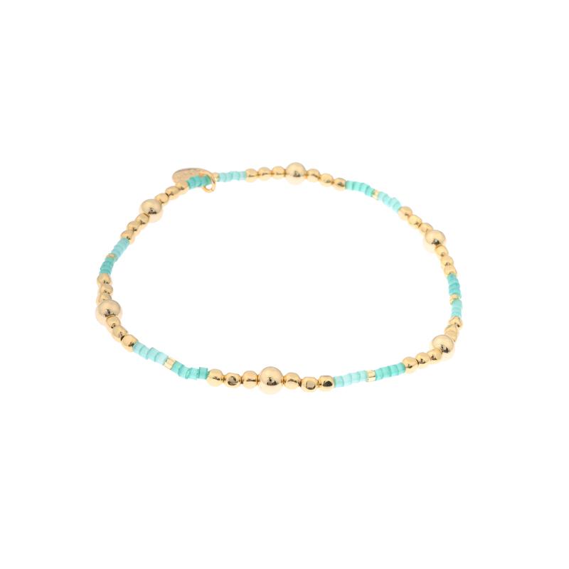 Biba miyu armband bal kleuren goud diepgroen kralen 2mm