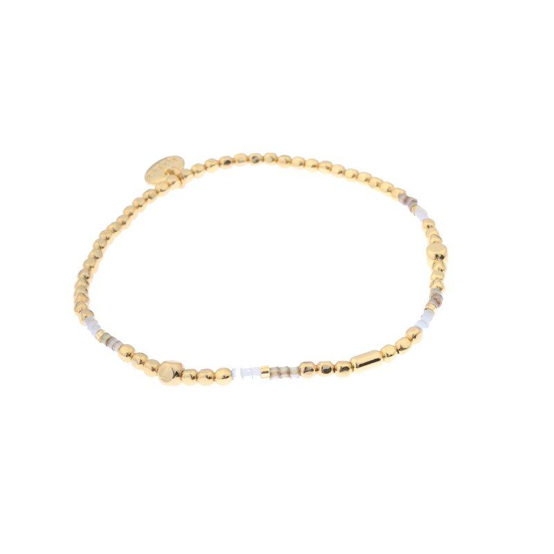 Biba miyu armband kleuren beige goud kralen 2mm