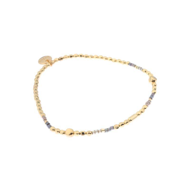 Biba miyu armband kleuren grey goud kralen 2mm