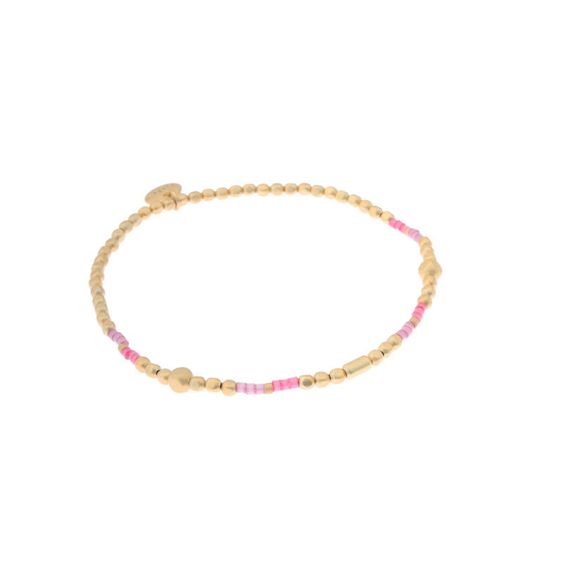 Biba miyu armband kleuren mat goud roze kralen 2mm