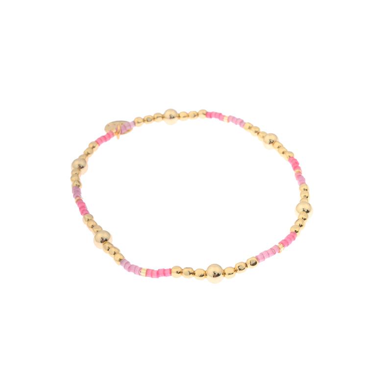 Biba miyu bal kleuren goud roze kralen 2mm