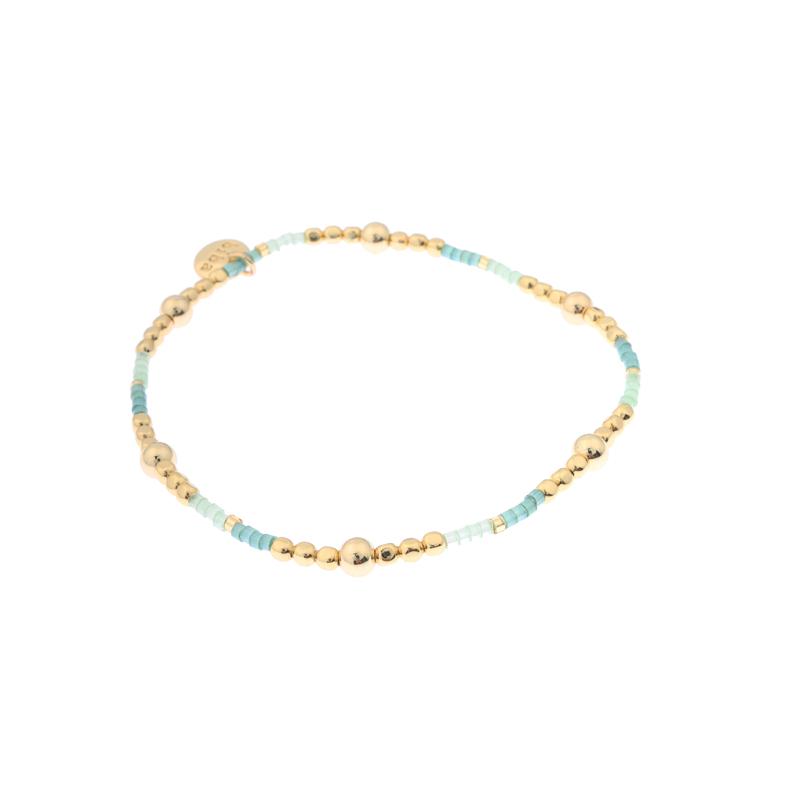 Biba miyu armband bal kleuren goud en mintgroen kralen 2mm