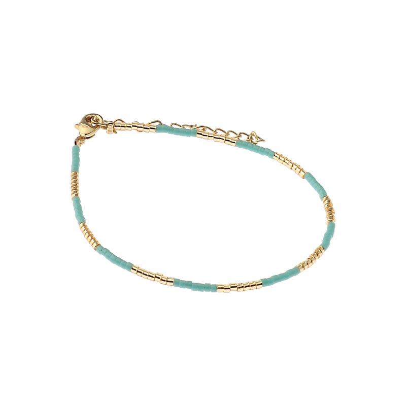 Biba miyu armband kleuren turquoise goud kralen 2mm