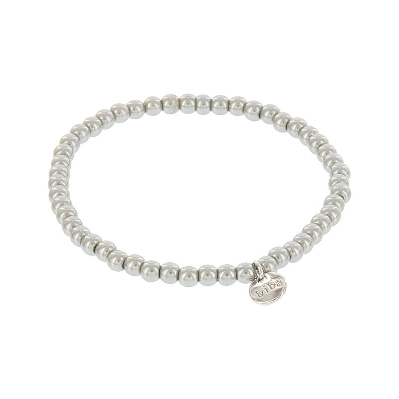 Biba pearl armband kleur metal grey kralen 4mm