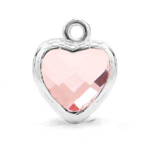 Hanger crystal glas hart kleur roze