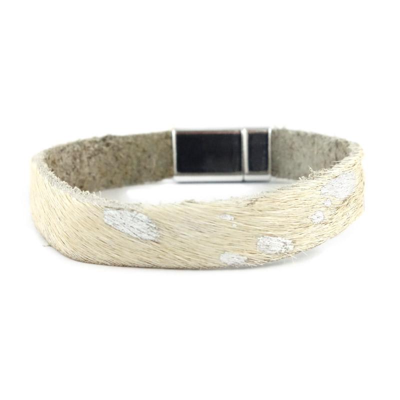 Leren armband kleur wit zilver