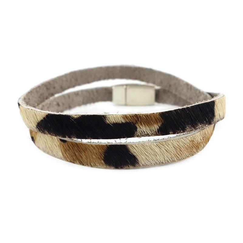 Smalle dubbele leopard armband kleur bruin zwart wit