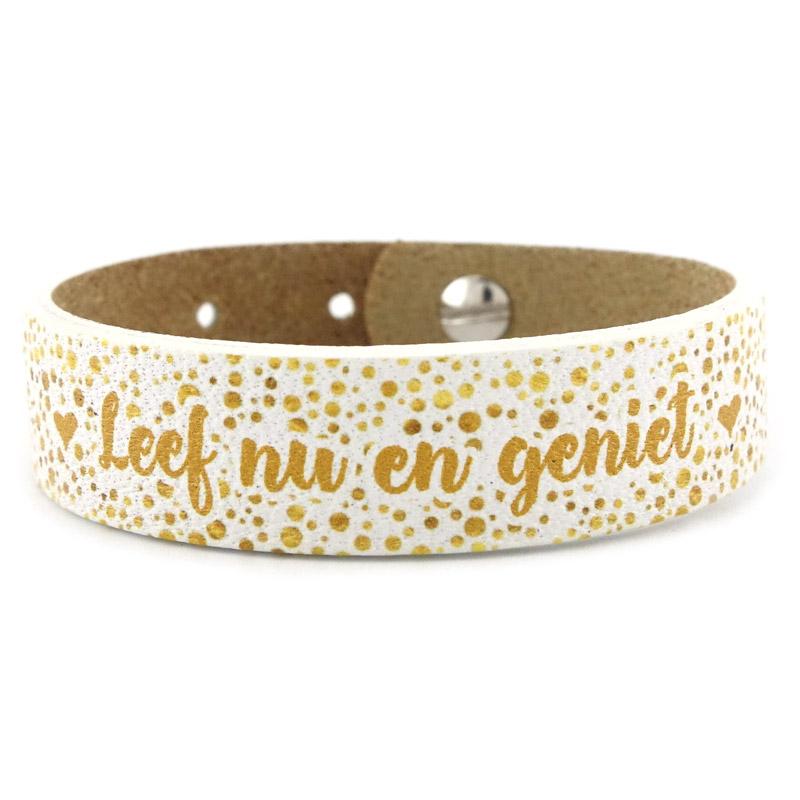 Armband goud met tekst leef nu en geniet