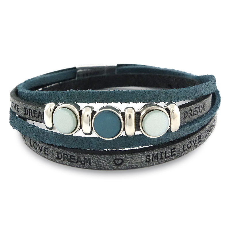 Leren armband smile-love-dream blue