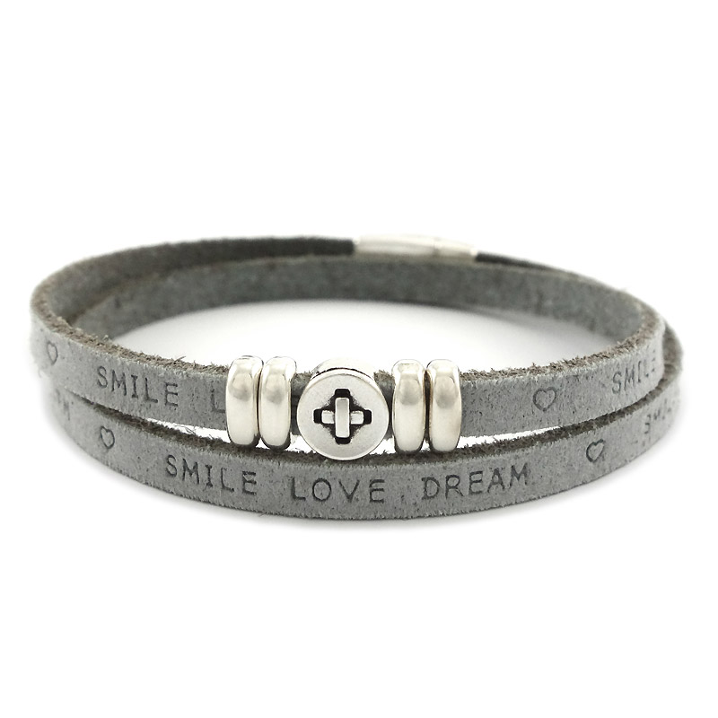 Leren armband smile-love-dream grey