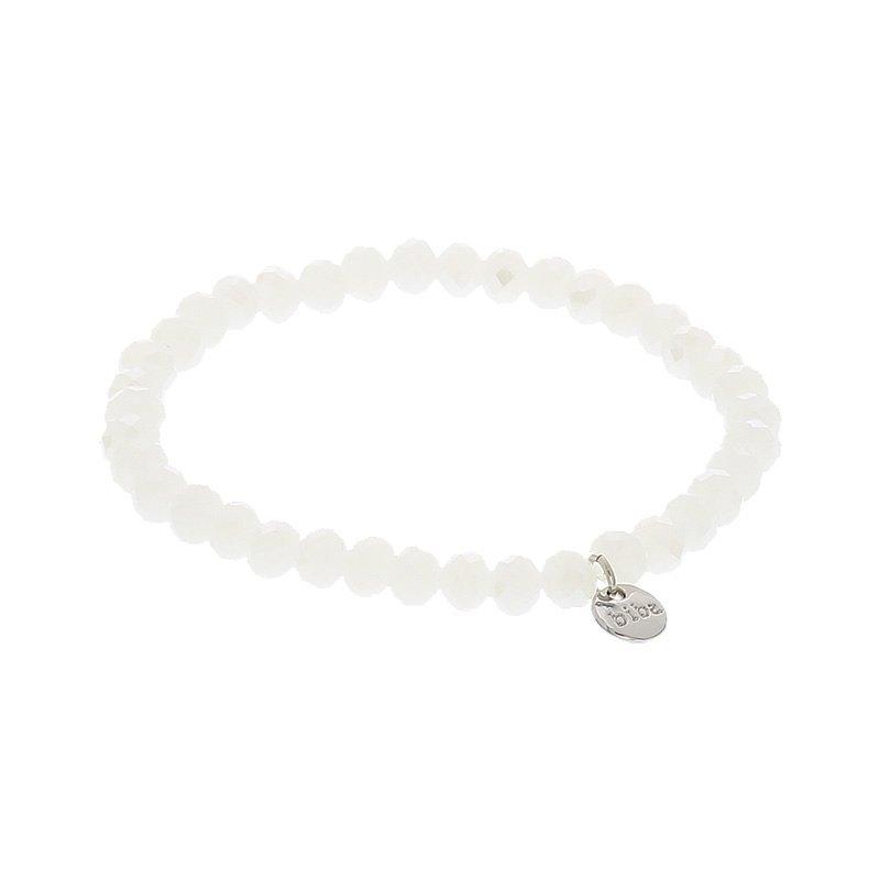 biba facet kralen armband kleur pearly white 6mm