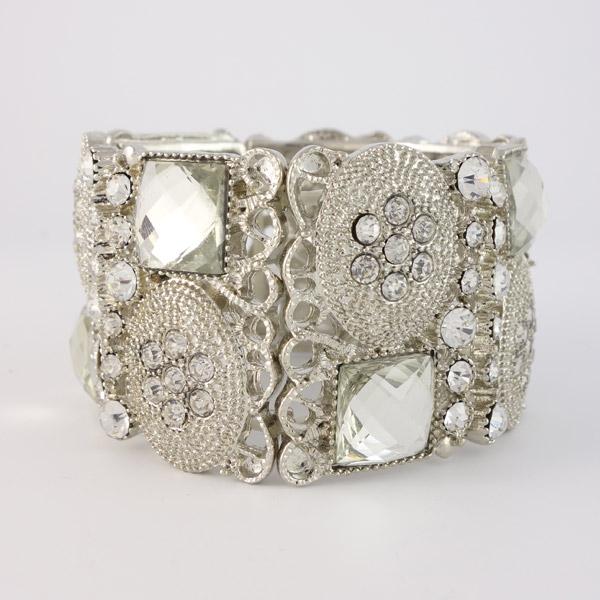 bohemian armband breed zilver shiny detail