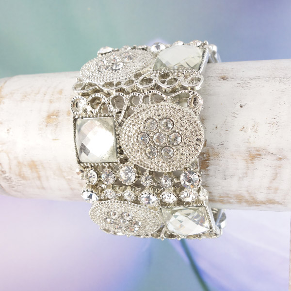 bohemian armband breed zilver shiny standaard