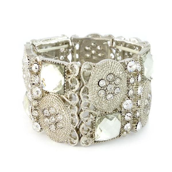 bohemian armband breed zilver shiny