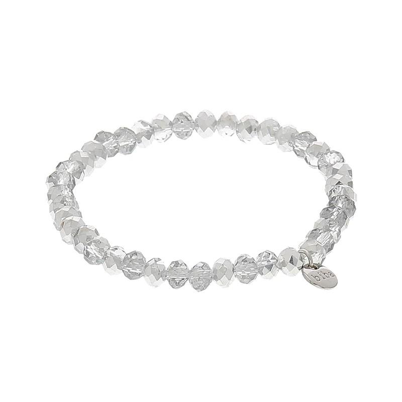 Facet armband kleur shiny light silver 6mm