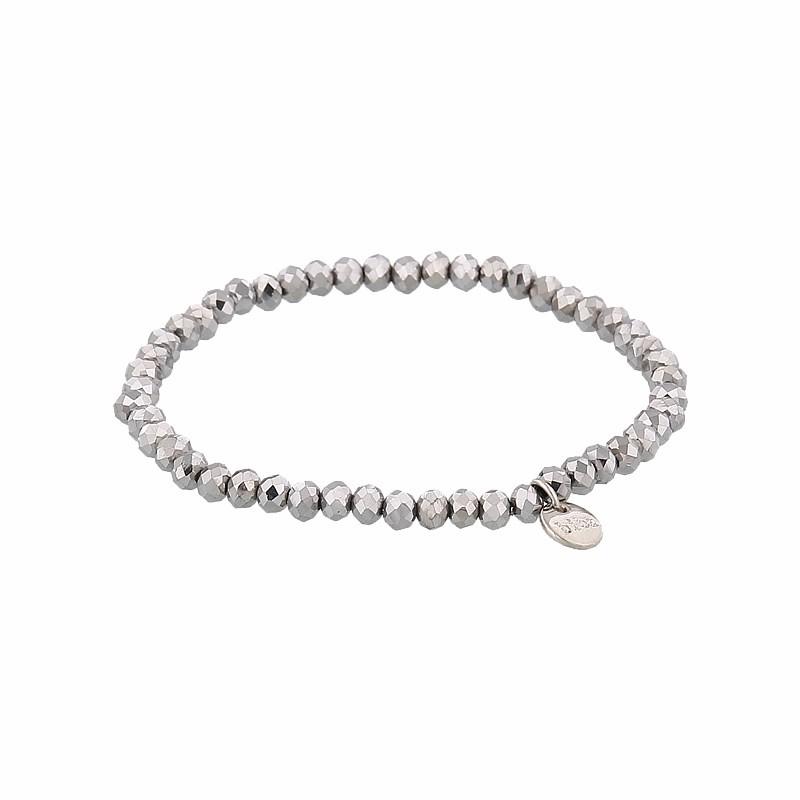 Facet armband kleur shiny silver 4mm