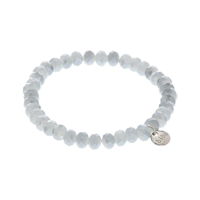 Facetarmband kleur pearly light grey 6mm