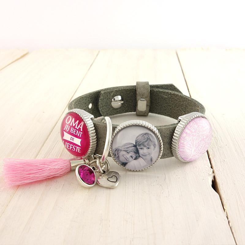 Cuoio armband met Swarovski puntsteen fuchsia