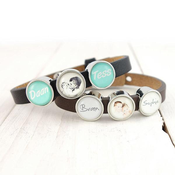 Smalle armband met naam en fotoschuivers