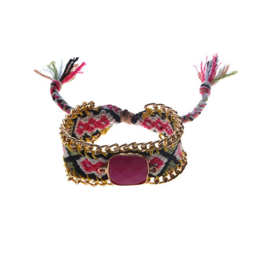 geknoopte Ibiza armband kleur pink green