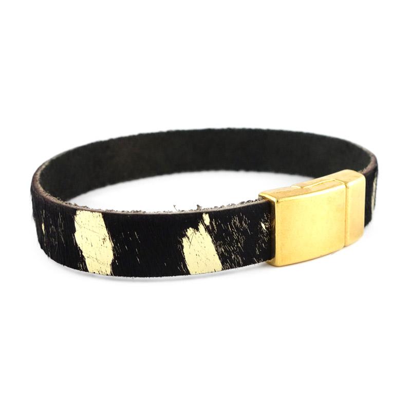 Leren armband kleur black gold detail