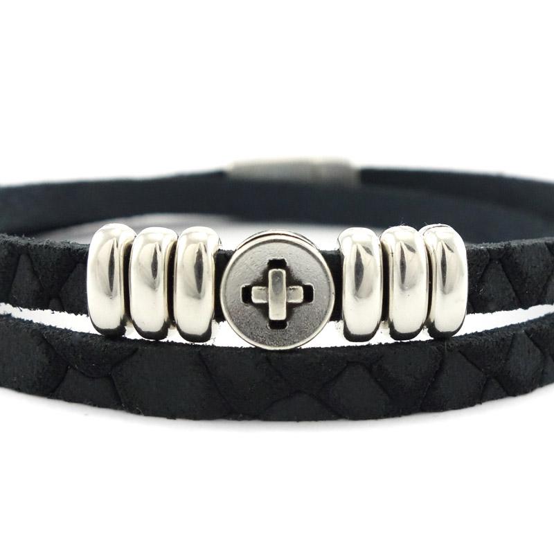 Leren armband black silver