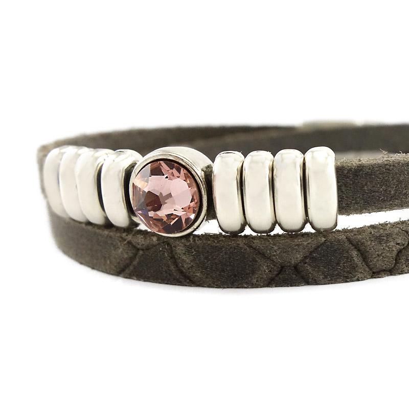 Leren armband bruin met roze puntsteen detail