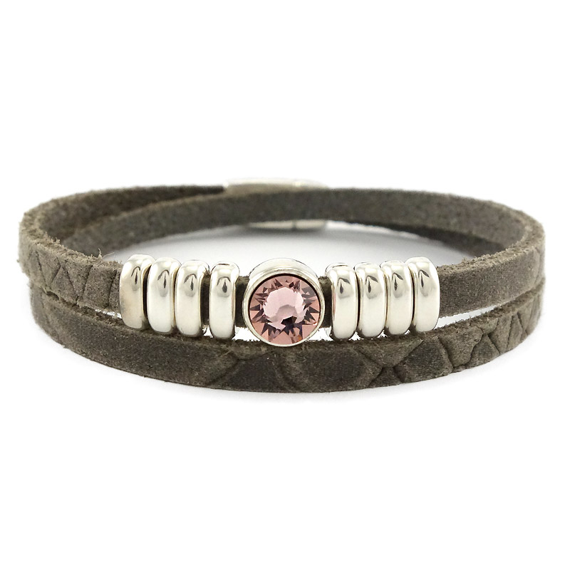 Leren armband bruin met roze puntsteen