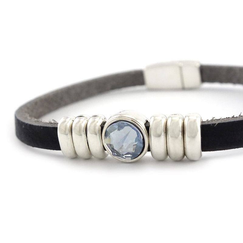 Leren armband puntsteen blue detail