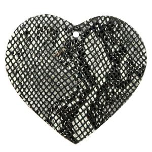 Leren hart kleur snake black